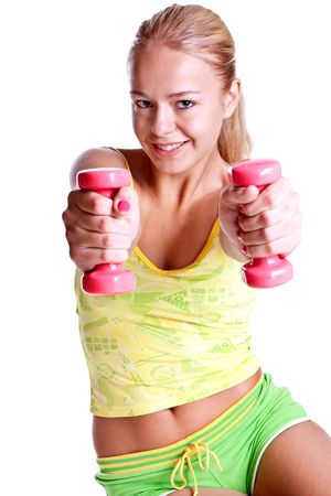 pink dumbbells in the hands of women on a white background Banque d'images