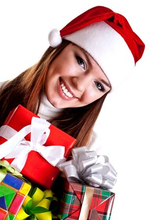 beautiful woman with holiday gift on a white background Stock Photo
