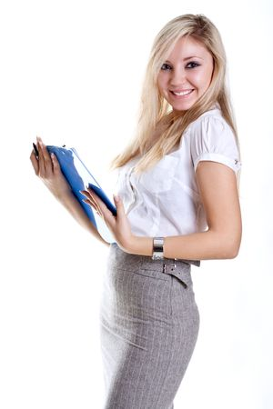 skirt suit: business woman in a suit with clipboard on a white background Stock Photo
