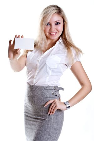 young business woman with business card on a white background photo