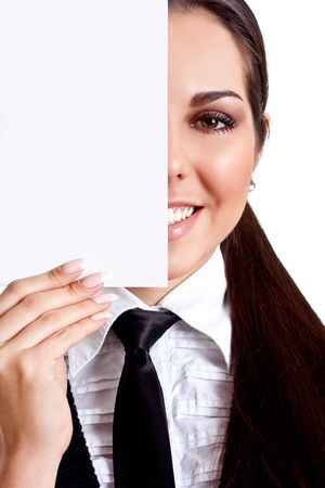 young business woman with business card on a white background Stock Photo - 6338330