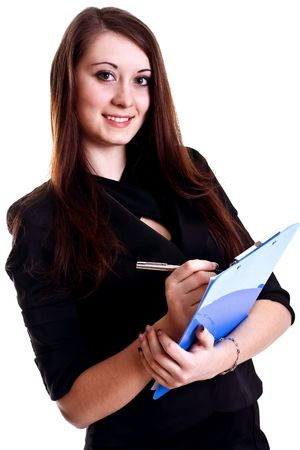 business woman in a suit with clipboard on a white background Stock Photo