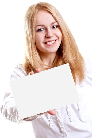 young business woman with business card on a white background Stock Photo - 6960846