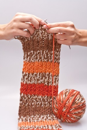 womans hand knit knitting yarn and clothes photo