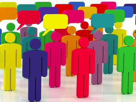 social issue: colorful group of people talking in the social network Stock Photo