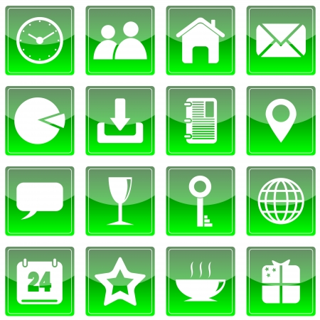 green icons set with different symbols