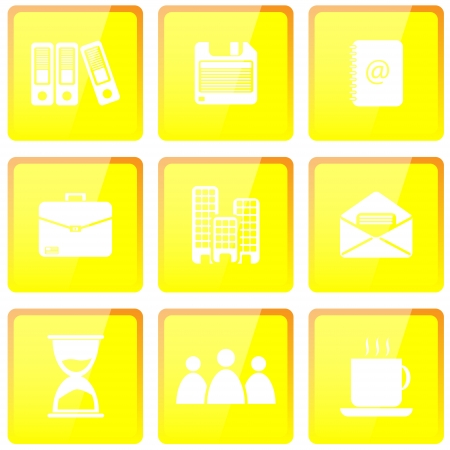 yellow office icons set with different symbols