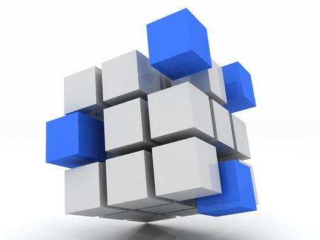 group solution: cube blue assembling from blocks on a white background Stock Photo