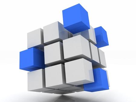 kocka: kocka kék összeszerelését a blokkok, fehér alapon