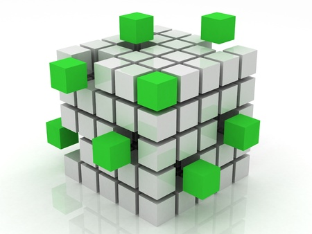 cube green assembling from blocks on a white background photo