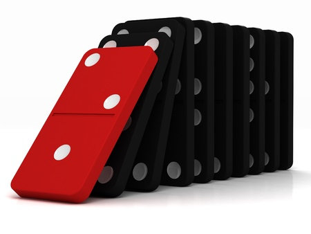 black dominoes falling over on a white background