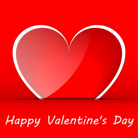 Red hearts Valentines day card on a red background