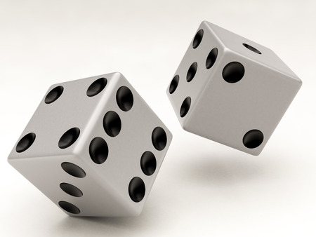 two white dices falling on a white background photo