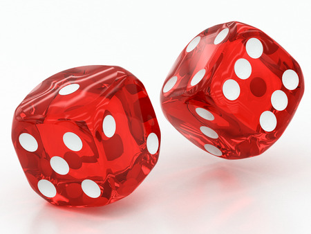 two red dices falling on a white background photo