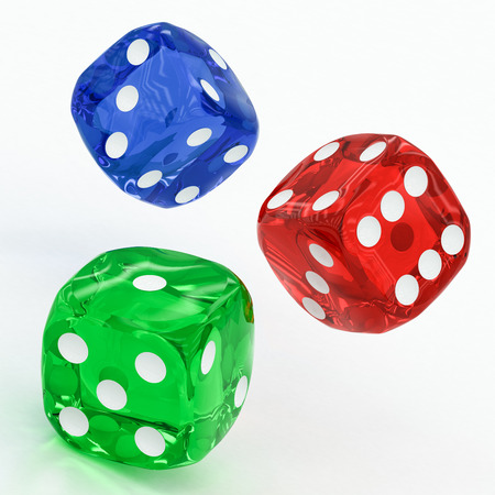 three dots: three dices falling on a white background