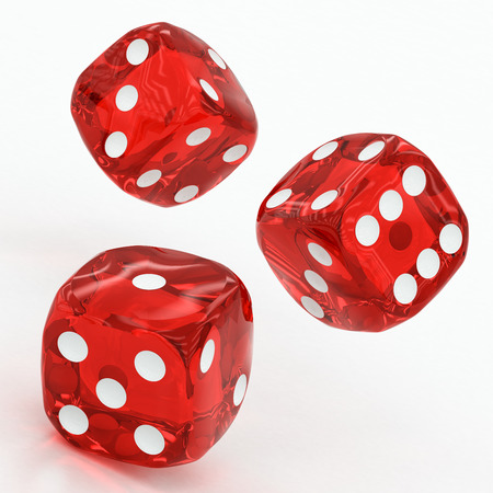 three red dices falling on a white background