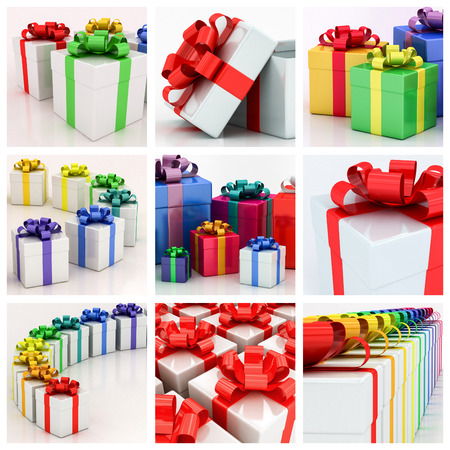 varicolored: white gift boxes with varicolored ribbon on a white background