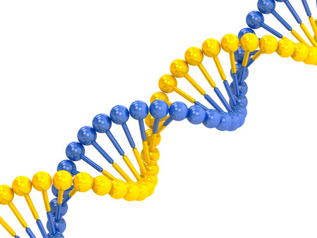 researchs: yellow blue DNA molecule on a white background Stock Photo