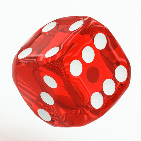 red dice: one red dice falling on a white background