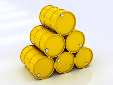 �hemical yellow barrels on a white background