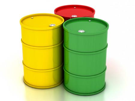 �hemical variegated barrels on a white background
