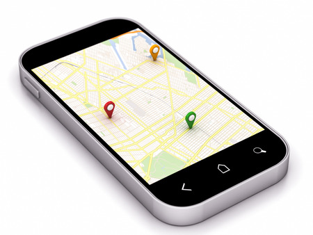 phone navigation map with colored pin