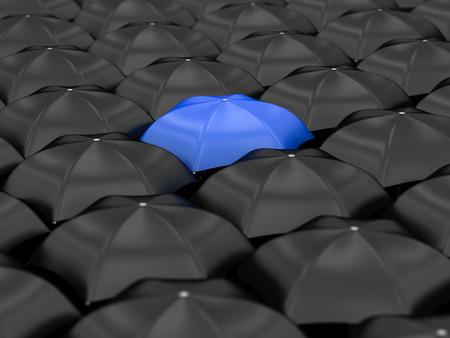 unique blue umbrella with many black umbrellas