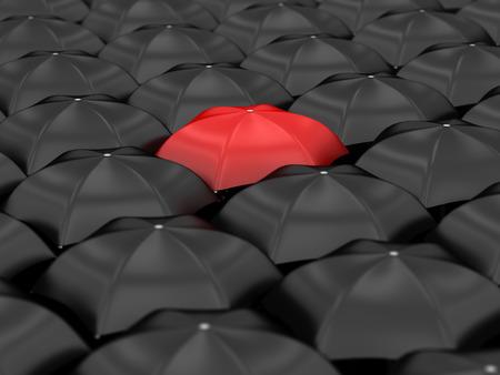 unique red umbrella with many black umbrellas