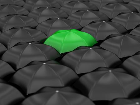 unique green umbrella with many black umbrellas