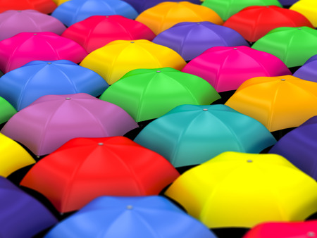 many colored umbrellas on a white background photo