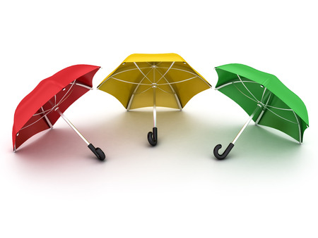 three colored umbrellas on a white background Banque d'images