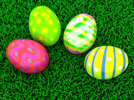 colorful Easter eggs on a grass background