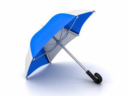 blue and white umbrella on a white background