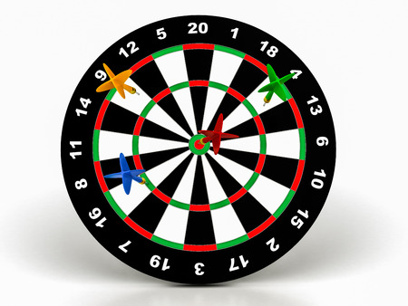 3d darts on target on a white background
