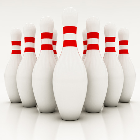 sphere standing: white bowling pins on a white background Stock Photo