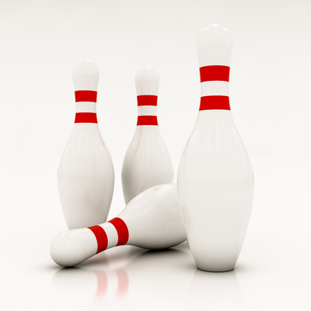 white bowling pins on a white background Banque d'images