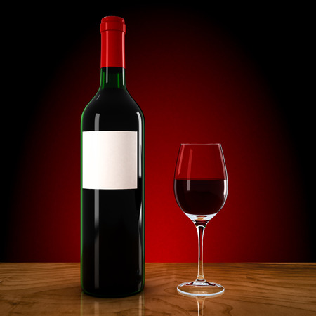 dinner party table: wine bottle and wineglass on a red background