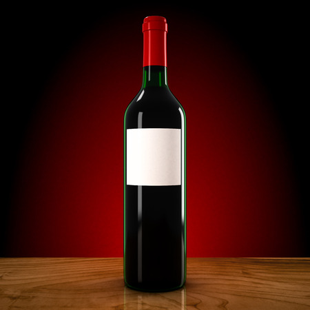dinner party table: wine bottle on a red background