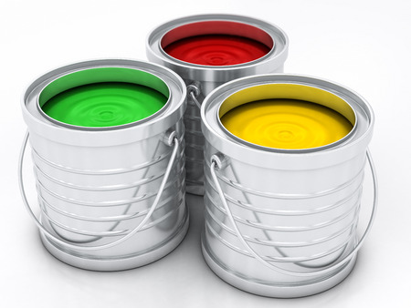 paint container: three color paint rainbow cans for renovation Stock Photo