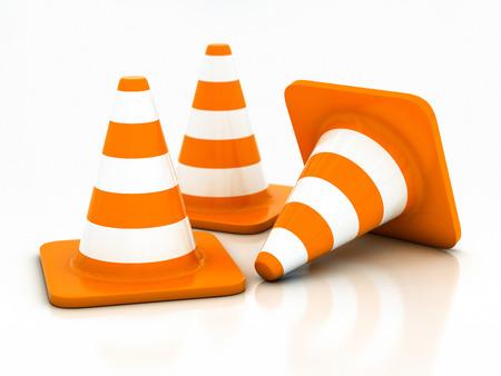 orange highway traffic cone on a white background