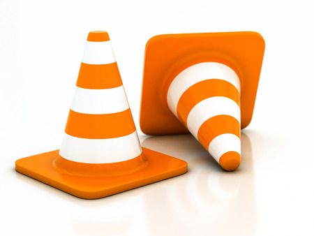 highway traffic: orange highway traffic cone on a white background
