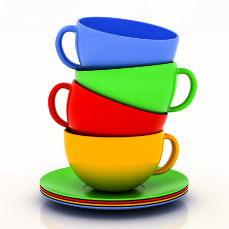 teacup with saucer on a white background Banque d'images