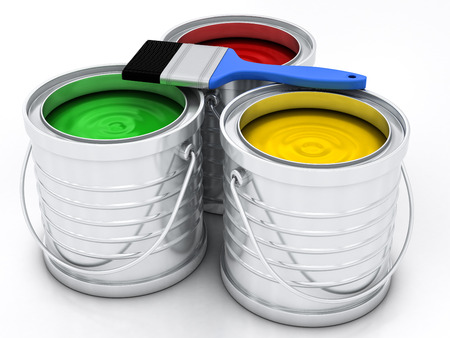 three color paint rainbow cans for renovation Stock Photo