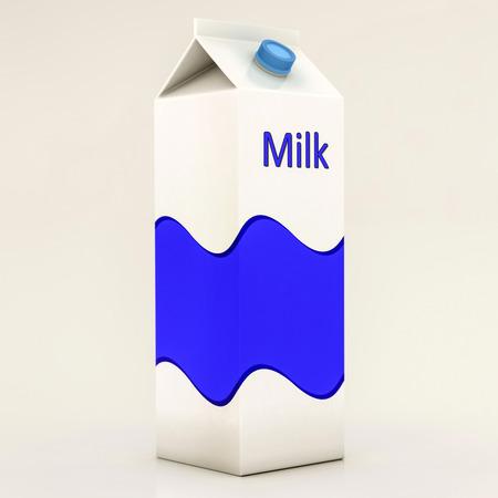 envase de leche: caja de cartón de leche aislado en fondo blanco Foto de archivo
