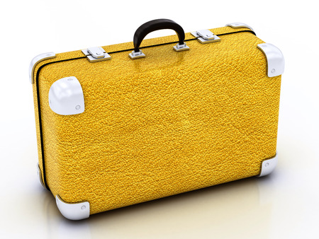yellow traveling bag on a white background