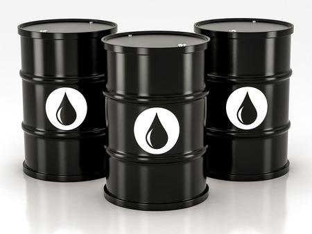 black metal barrels on a white background