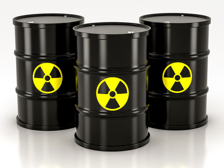 barrels with nuclear waste: black radioactive barrel on a white background Stock Photo