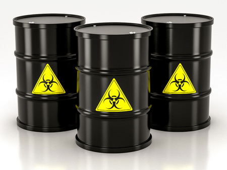 barrels with nuclear waste: black biohazard barrel on a white background