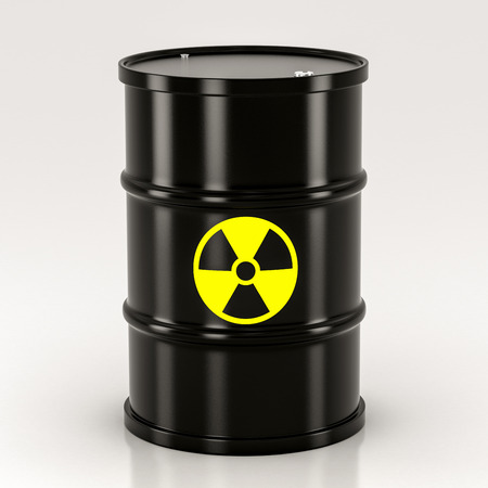 radium: black radioactive barrel on a white background Stock Photo