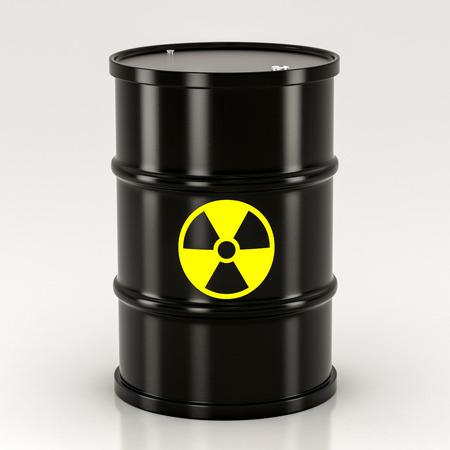 barrel radioactive waste: black radioactive barrel on a white background Stock Photo